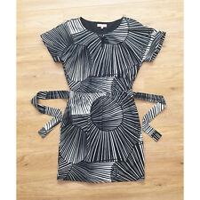 Per Una Dress 12 Black Summer Short Sleeve Elastic Waist Pencil Office Stripe