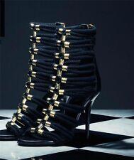 BALMAIN & h&m New women's shoes heels black braided sandals US 8.5 AUS 9 40