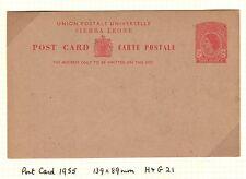 Sierra Leone H&G 21- 1955 2p QEII Postal Card - Unused
