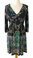 Wallis Size 12 Black Multicoloured Floral 3/4 Sleeve Tie Waist Dress Petite