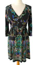 Wallis Size 12P Black Multicoloured Floral 3/4 Sleeve Tie Waist Dress Petite
