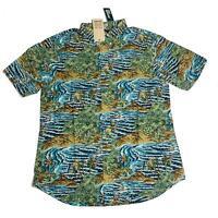 Reyn Spooner Mens Hawaiian Shirt Size XL Sumatra SLDE Azure Tailored Fit New