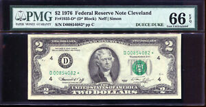 1976 $2 Federal Reserve *STAR* Note Cleveland Deuce Duke #D00854082* PMG 66EPQ