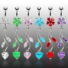 VINTAGE FLOWER PETAL & STEEL VINE DANGLE NAVEL BELLY RING BUTTON PIERCING B91