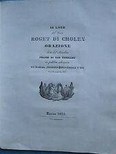 ELOGE DU COMTE DE CHOLEX ministre du roi de Sardaigne. Turin, 1835.
