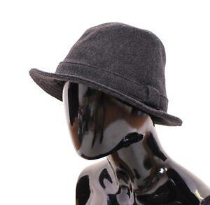 NEW $540 DOLCE & GABBANA Gray Virgin Wool Logo Fedora Trilby Hat Cappelo s. 57/S
