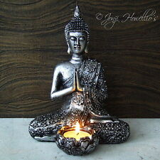 Thai BUDDHA CANDLE HOLDER Tea Light Holder Rustic Silver Effect MEDITATING 21cm