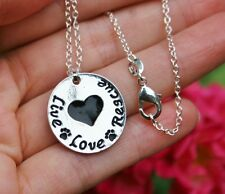 .925 Sterling Silver NECKLACE Live Love Rescue Pendant Cat Dog Pet Lover Peace