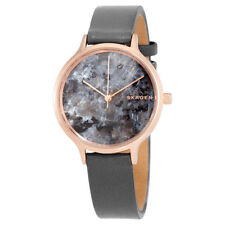 Skagen SKW2672 Women's Rose Gold Tone Marble Dial Grey Leather Band Analog Watch
