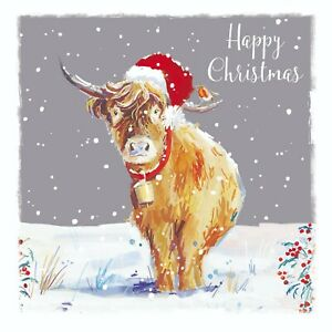 Charity Christmas Cards Highland Cow Snow Santa Hat Robin Pack 10 Small Cards