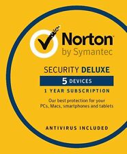 Norton Security DELUXE 3.0, NEW 2018, 5 Multi-Devices 1 Year DOWNLOAD VERSION