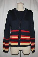 St John Sport Navy w/Red & Mango Stripes Knit Cardigan Jkt & Slvless Top Set P/S