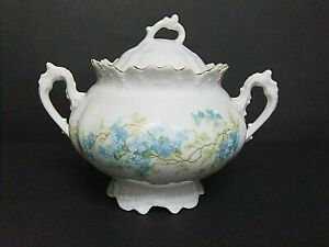 Antique M.Z. Moritz Zdekauer Austria Bohemia Hand Painted Sugar Bowl Blue Roses