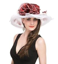 New Saferin Women's White & Red Flower Church Derby Bridal Tea Party Wedding Hat