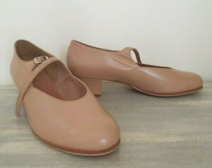 Bloch 7E (7.5 - 8 AU) Camel full leather MJ shoes w non slip soles - never worn