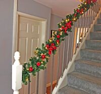 Pre Lit 2.7m & 1.8m Red Stairs Fireplace Christmas Garland LED Warm White Lights