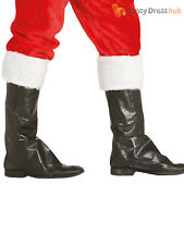 Santa Claus Boots Black Boot Covers Father Christmas Costume Fancy Dress Adult