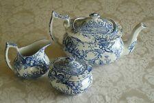 Spode Provincial Garden Blue Williamsburg Toile Tea Pot Creamer Sugar Set