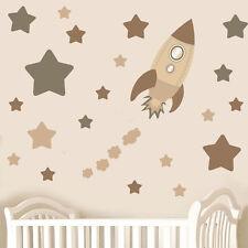 Childrens marron fusée space & stars-wall art stickers decals neutre