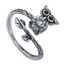 Lucky Owl Crystal Ring Retro Burnished Animal Bird Ring Free Size Black Crystal