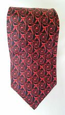 Burberrys Mens Silk Necktie Red Navy Blue Circle Flower Geometric England