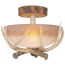 "2 Light 12"" Noachian Stone Semi Flush Ceiling Fixture! Antler Lodge Rustic Cabin"