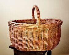 Oval Natural Wicker Picnic Shopping Basket With Handle New