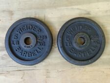 PAIR OF VINTAGE WEIDER 5 LB BARBELL WEIGHT PLATES WITH STANDARD 1 INCH HOLE