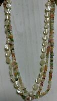 Vintage Mother Of Pearl Multi Bead 3 Strand Necklace