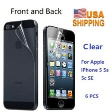 USA Stock! 3 Front and 3 Back Screen Protector Film For Apple iPhone 5 5s 5c SE