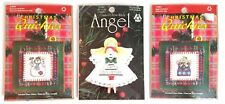 Lot 3 Snowman and Angel Christmas Ornaments Counted Cross Stitch Kits Sealed New