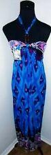 Womens Sundress Size XL Maxi Halter Dress Blue pink Multi color New