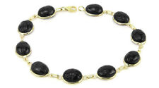 14K Yellow Gold Scarab Bracelet With Black Onyx Gemstones 7.25 Inches