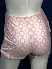 "High Waisted Vintage Embroidered Hot Pants White Pink 22"" Waist Zipper Side"