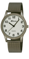 RAVEL GENTS MENS ROUND EXPANDABLE SILVER STRAP WRIST WATCH R0201
