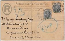 TRANSVAAL -  POSTAL HISTORY -  STATIONERY Registered COVER to ARGENTINA 1901