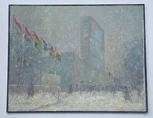 Estate Johann Berthelsen United Nations Plaza Oil On Board Painting + Provenance