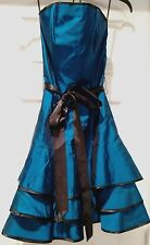 Roberta Blue Strapless Dress Prom Party Cocktail Dance Size 3 4 Metallic Tiered