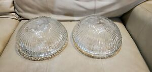 """2x -Vtg  Ceiling Light Shade Clear Ripped Kitchen Bathroom Glass  7-5/8"""" Fitter"""
