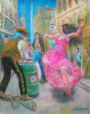 "LEON GOODMAN originale olio su tela ""FLAMENCO a Paris"" SALSA DANZA PITTURA"