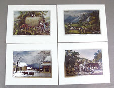 Vintage Currier and Ives Nostalgic America Foil Etch Print Set 241-119 4 Prints