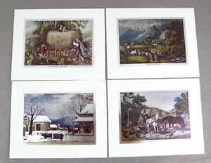 Vintage Currier and Ives Nostalgic America Foil Etch Print Set 241-119 4 Prints