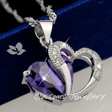 925 Sterling SILVER Amethyst Purple LOVE HEART Womens Pendant NECKLACE S1028