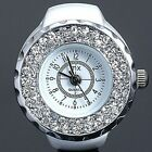 Designer WAG Style Ladies Girls White Ring Finger Watch w/ Bling Ice Crystals BN