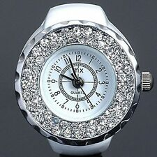 Designer Style Wag Ladies Girls White Finger Ring Watch w/ Bling Ice Crystals BN