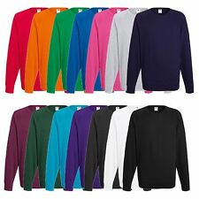 3er Pack FRUIT OF THE LOOM Herren Pullover Raglan Sweatshirt Pulli Sweat-Shirt