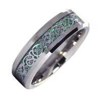 Tungsten Celtic Dragon Ring Mens Womens Green Carbon Fiber Wedding Band 6mm