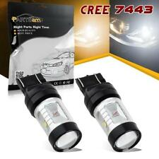 2x 7443 Dual Color Switchback White/Amber Cree LED Front Turn Signal Light Bulbs