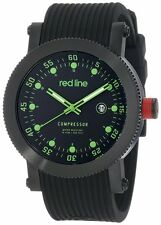 NEW Red Line RL-18001-BB-01GN Men's COMPRESSOR Black Rubber Green Accent Watch