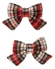 NWT Gymboree Red HOLIDAY PICTURES PLAID BOW CLIPS,HAIR ACCESSORY,Vintage